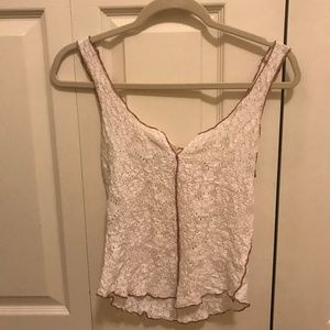 Free People Lace White Tank